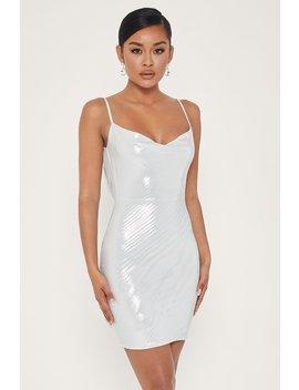 Kalia Cowl Neck Mini Dress   Silver by Meshki