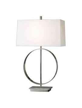 Uttermost Addison Table Lamp In Polished Nickel With Linen Shade by Uttermost