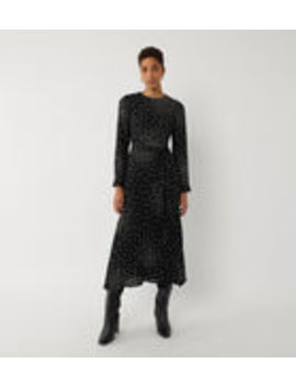 Spray Spot Pleated Midi Dress by Warehouse