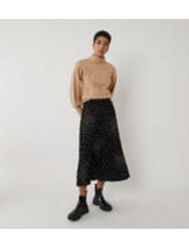 Spray Spot Pleated Midi Skirt by Warehouse