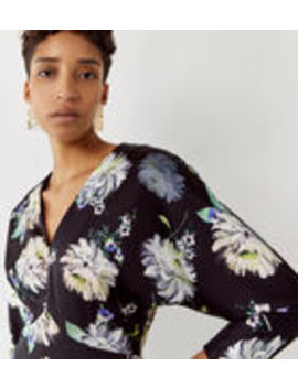 Floral Satin V Neck Midi Dress by Warehouse