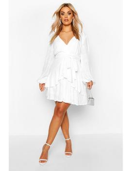 Plus Plunge Ruffle Hem Sequin Skater Dress by Boohoo