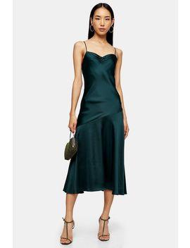 Green Ruched Bias Satin Slip Dress by Topshop