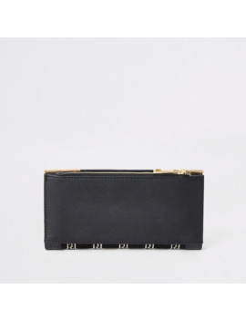 Black Embellished Foldout Metal Corner Purse by River Island