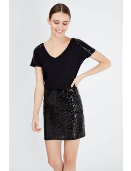Black Sequin Mini Skirt by Select