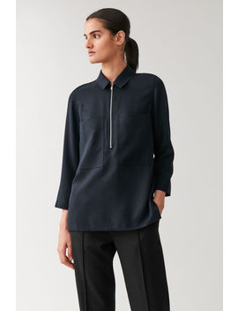 Half Zip Shirt With Patch Pockets by Cos
