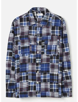 Universal Works Garage Shirt Ii In Blue Brushed Patchwork 2 by Universal Works
