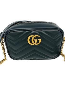 Marmont New Camera Matelasse Mini Black Leather Cross Body Bag by Gucci