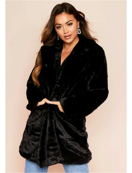 Dalla Black Faux Fur Coat by Missy Empire