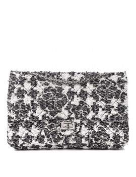 Chanel Tweed Camellia Quilted 2.55 Reissue 226 Flap Black White by Chanel