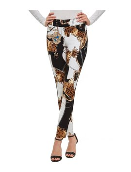Slims Luxe Ponte Scarf Print Legging With Piping by Peter Nygard