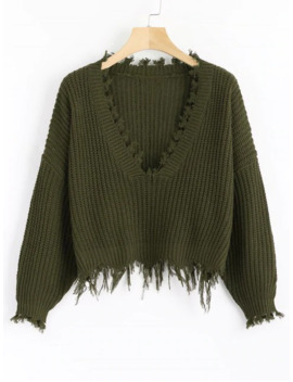 Hot Loose Ripped V Neck Sweater   Army Green by Zaful