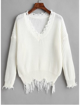 Hot Ripped Drop Shoulder V Neck Sweater   White by Zaful