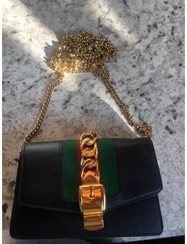 Mini Sylvie Super Black Leather Cross Body Bag by Gucci