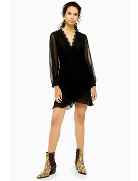 Black Pleated Ruffle Mini Dress by Topshop