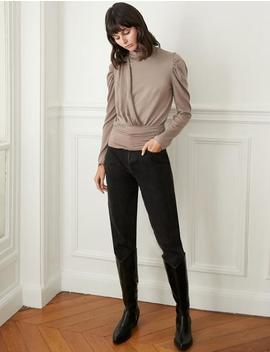 Taupe Puff Sleeve Knit Top by Pixie Market