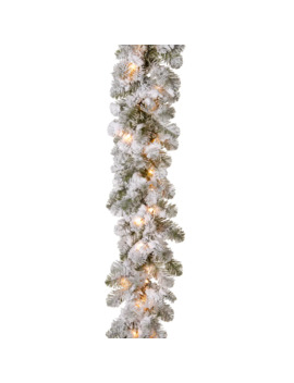 "9' X 12"" Pre Lit Feel Real® Snowy Camden Artificial Christmas Garland With 50 Clear Lights by National Tree Company"
