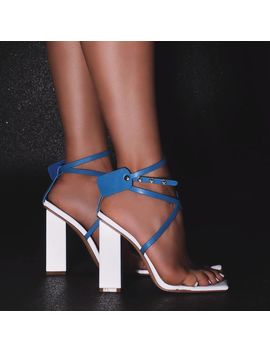 Cocktail Perspex Square Toe Block Heel In Silver Reflective And Blue Faux Leather by Ego