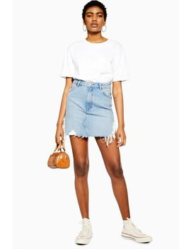 Blue Side Ripped Denim Skirt by Topshop