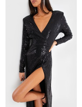 Stephsa Black Sequin Draped Maxi Dress by In The Style