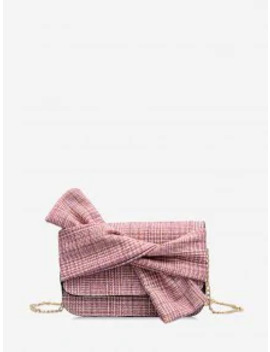 New Front Bowknot Plaid Print Chain Crossbody Bag   Rose by Zaful