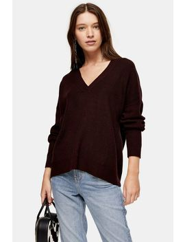Knitted Berry V Neck Jumper With Wool by Topshop