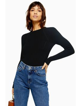 Tall Black Knitted Ribbed Crew Neck Jumper by Topshop