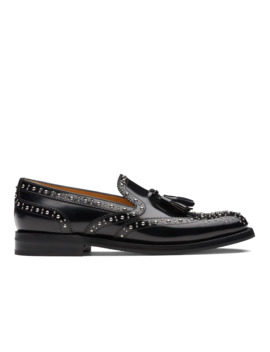Polished Binder Brogue Loafer Stud Black by Church's Footwear