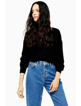 Knitted Ribbed V Neck Jumper by Topshop