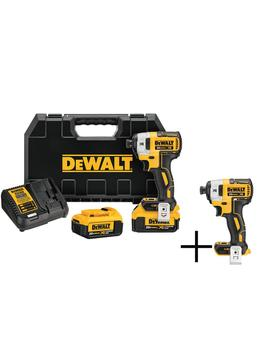 20 Volt Max Xr Lithium Ion Cordless Brushless 1/4 In. Impact Driver, 2 Batteries 4 Ah, Charger, And Free Impact Driver by Dewalt