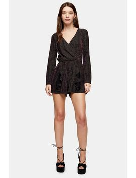 Black And Gold Glitter Stripe Playsuit by Topshop