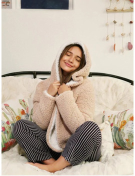 Zaful X Alexis Ricecakes Hooded Reversible Teddy Coat   Warm White M by Zaful