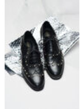 Leather Lacquered Derbies With Studs by Claudie Pierlot