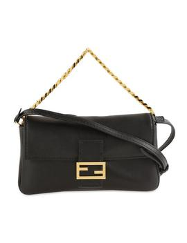 Micro Baguette Black Leather Cross Body Bag by Fendi