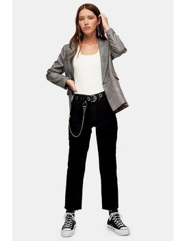 Black Raw Hem Straight Jeans by Topshop