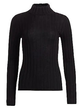 Collection Wide Rib Knit Mockneck Wool Sweater by Saks Fifth Avenue