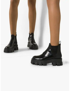 Black 55 Chunky Leather Chelsea Boots by Prada