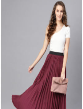 Women Burgundy Accordian Pleat Maxi Flared Skirt by Sassafras