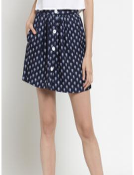 Women Navy Blue Printed Flared Mini Skirt by Sera