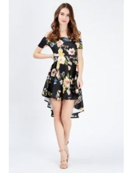 Black Floral Dip Hem Skater Dress by Select