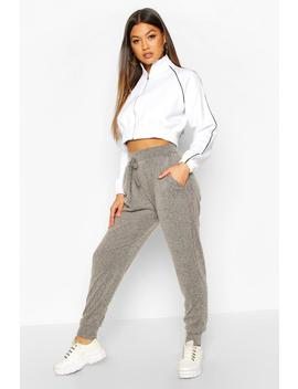 Soft Brushed Rib Cuffed Joggers by Boohoo