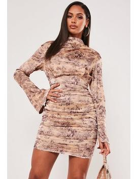 Champagne Porcelain Satin Ruched Mini Dress by Missguided