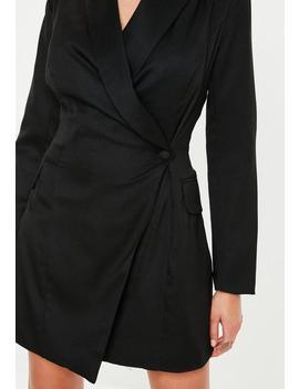 Tall Black Asymmetric Blazer Dress by Missguided