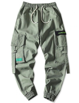 Sale Letter Embroidery Multi Pocket Applique Cargo Jogger Pants   Light Green 4xl by Zaful