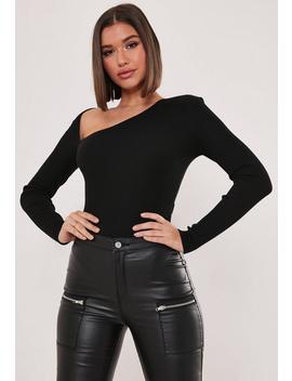 Black Cut Out Shoulder Bodysuit by Missguided
