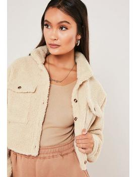Cream Borg Teddy Cropped Shirt by Missguided