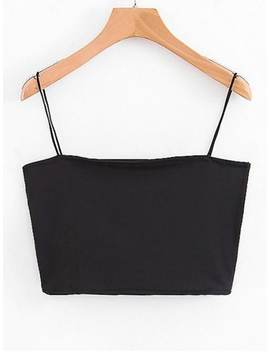 Hot Spaghetti Strap Cropped Top   Black S by Zaful