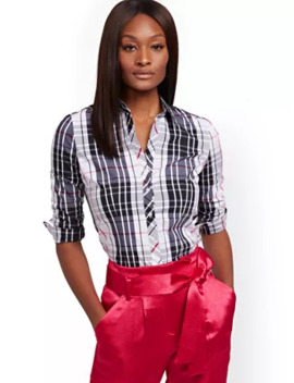 Plaid Madison Stretch Shirt   Secret Snap   7th Avenue by New York & Company