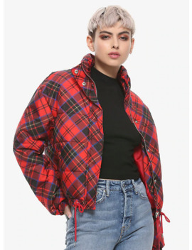 Red Plaid Girls Puffer Jacket by Hot Topic