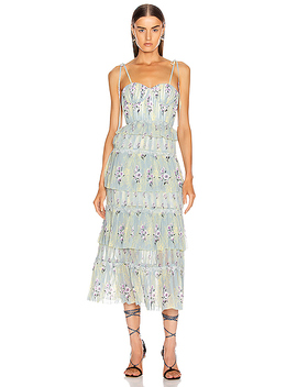 Tiered Floral Lace Dress by Self Portrait